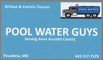 Pool Water Delivery in Pasadena, Glen Burnie, Severna Park, Arnold, Mago Vista, and nearby areas.